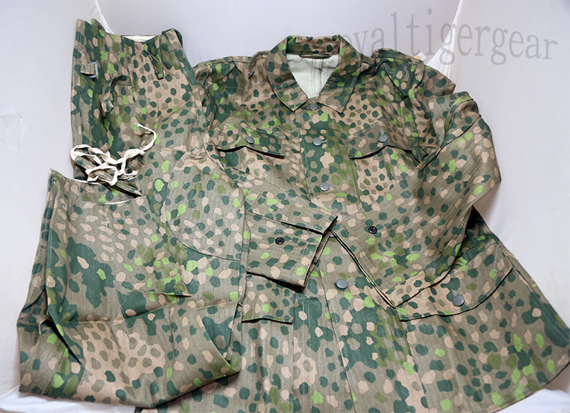WW2 German Erbsenmuster pea-dot Dot 44 Pattern HBT Camo M43 Shirt Pants set