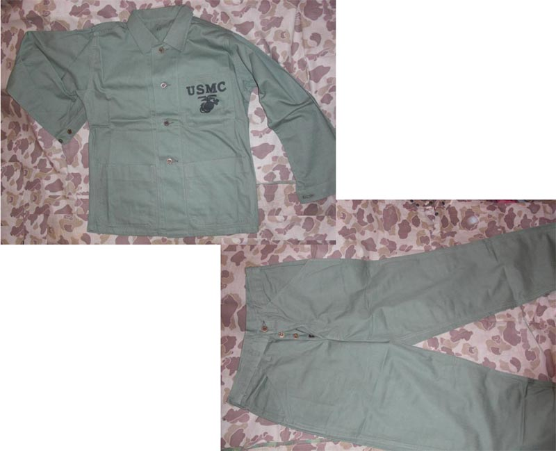 WW2 USMC US Marines HBT OD Utility Uniform Fatigue Shirt Pants Set