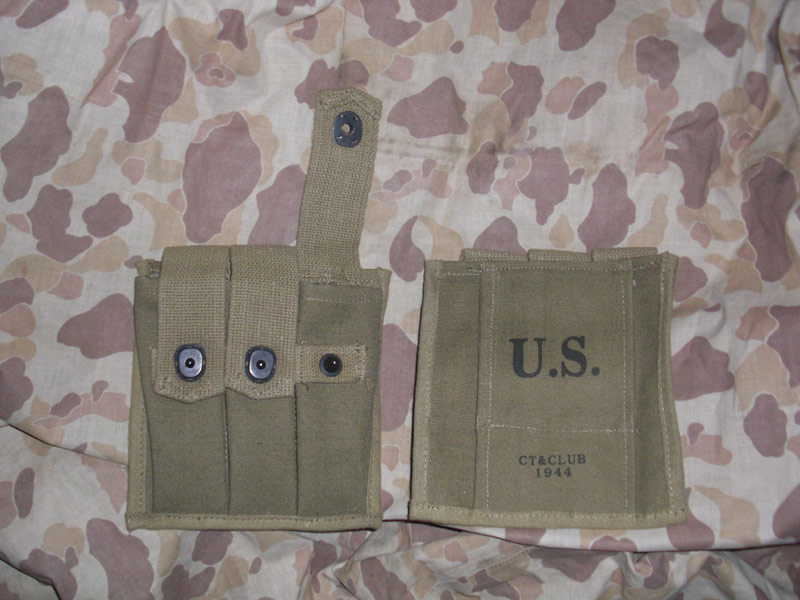WW2 US Thompson Tommy Gun 20 Rounds Ammo 3 Cells Mag Pouch