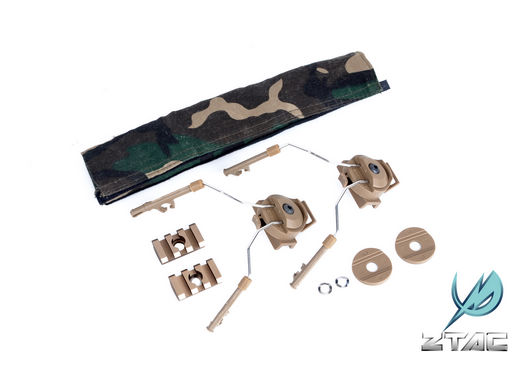 Z-TACTICAL Headset Rail Adapter Mount Set - Comtac I II Sordin on Rail /FAST Helmet - Dark Earth